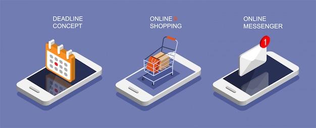 Conjunto de teléfono inteligente isométrica. plazo, marketing por correo electrónico, conceptos de compras en línea. icono de notificaciones de redes sociales. quedarse en casa.