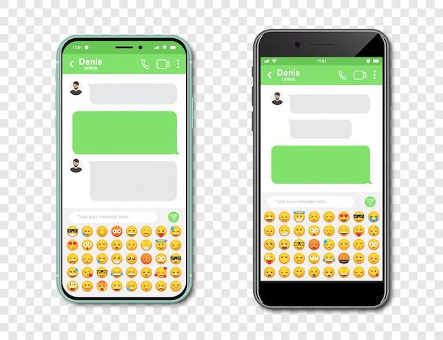 Conjunto de teléfonos inteligentes con chat en blanco messenger y emoticones. plantilla con burbujas de mensaje en teléfono inteligente con emoji