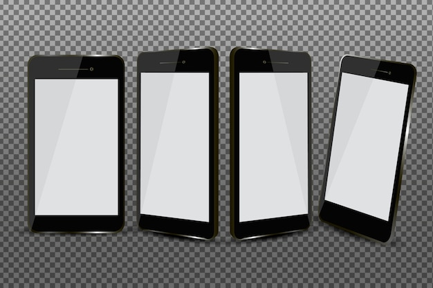 Conjunto de teléfonos inteligentes realistas en diferentes vistas