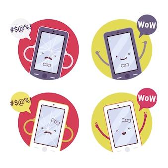 Conjunto de teléfonos inteligentes sonrientes, rotos de niña y niño