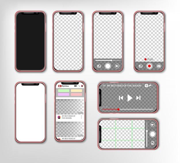 Conjunto de teléfonos móviles con pantalla en blanco, reproductor de video e interfaz de fotos