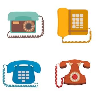 Conjunto de teléfonos retro. equipo anticuado en estilo de dibujos animados.