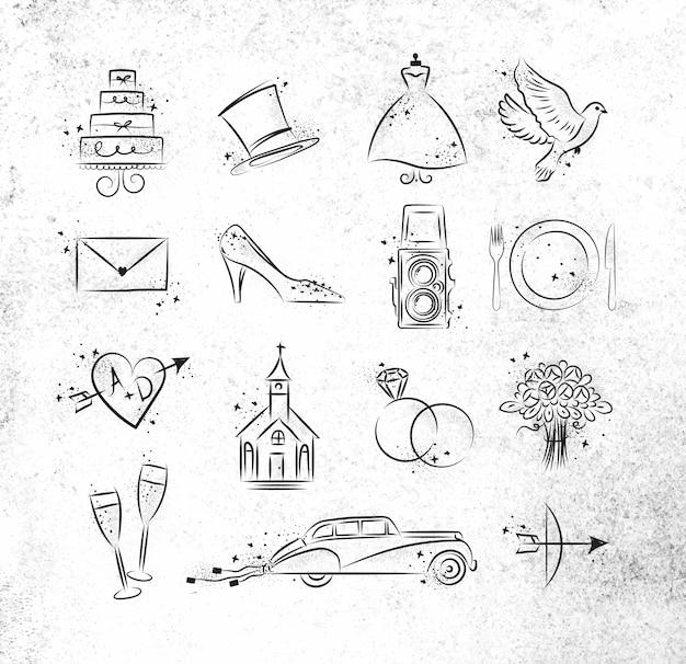 Conjunto de tema de iconos de boda dibujo con tinta negra sobre papel sucio