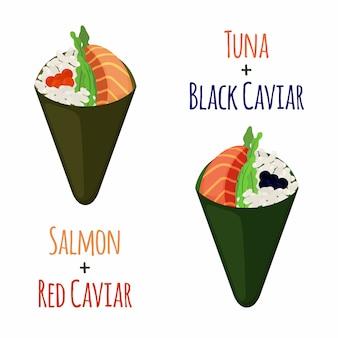 Conjunto temaki. pescado crudo: atún, salmón, caviar, arroz y nori