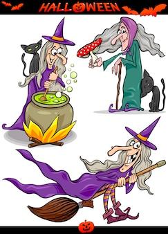 Conjunto de temas de dibujos animados de halloween spooky