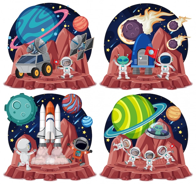 Conjunto de temas espaciales con astronautas aislados sobre fondo blanco