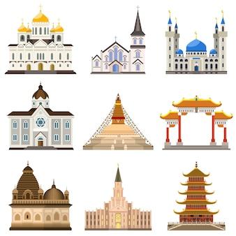 Conjunto de templo, estilo plano
