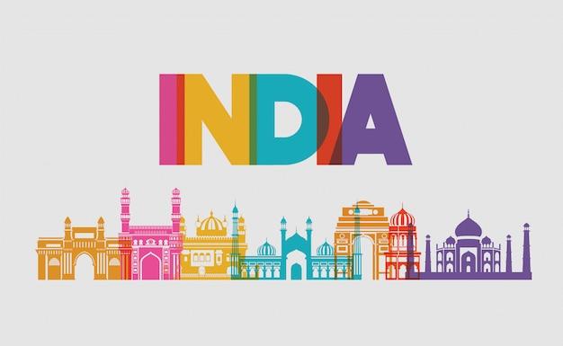 Conjunto de templos indios de arquitectura.