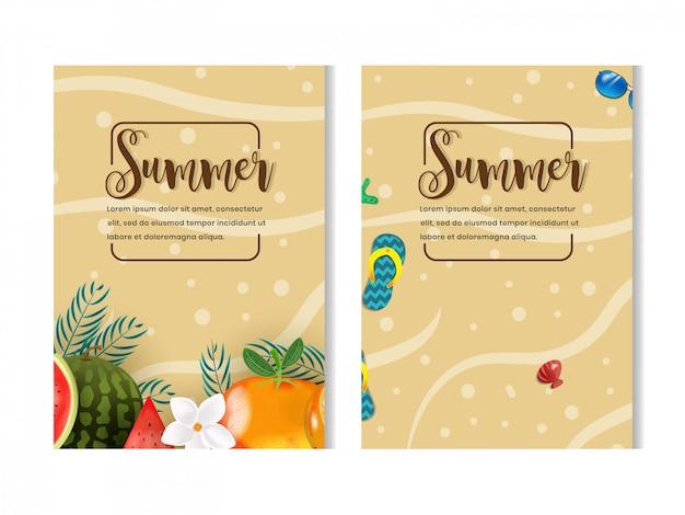 Conjunto de temporada de verano con diseño de flyer de ilustración de frutas y playa