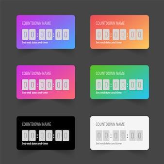 Conjunto de temporizador de cuenta regresiva colorido