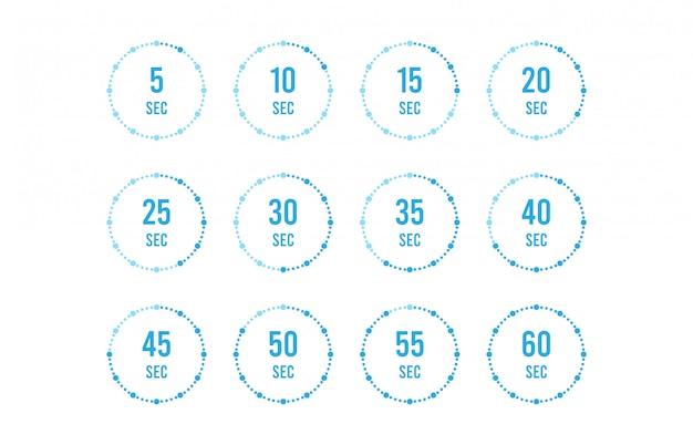 Conjunto de temporizadores. icono de signo temporizador de flecha de rotación completa. iconos planos de colores. ilustración de diseño plano.