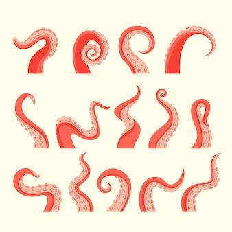 Conjunto de tentáculos atacantes de pulpo