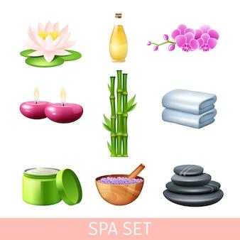 Conjunto de terapia de bienestar y cuidado de la salud de spa