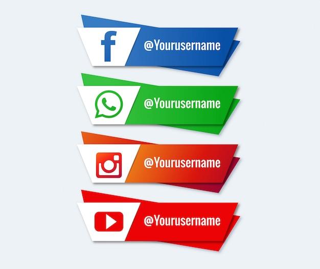 Conjunto de tercera colección inferior de redes sociales