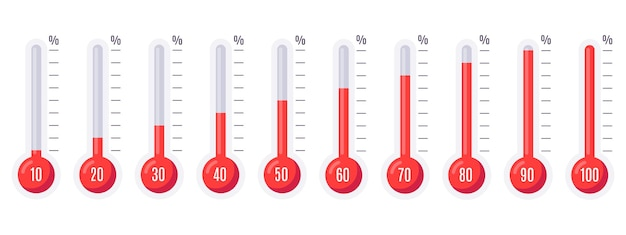 Conjunto de termómetros con diferentes temperaturas.
