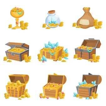 Conjunto de tesoros y riquezas de elementos de diseño gráfico