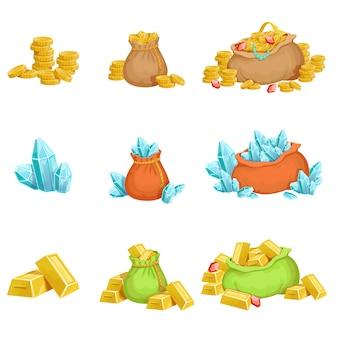 Conjunto de tesoros y riquezas de elementos de diseño del juego