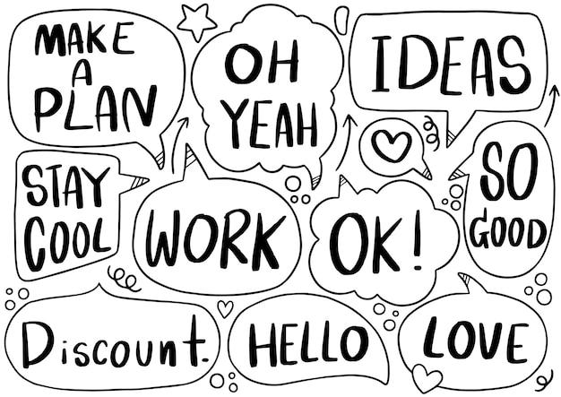 Conjunto de texto de burbujas de discurso lindo en estilo doodle
