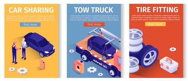 Conjunto de texto móvil para servicio automático en línea. compartir coche, evacuar camiones de remolque, ofertas de montaje de neumáticos.