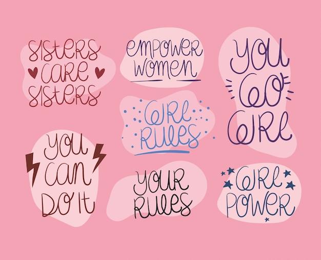 Conjunto de textos de empoderamiento de la mujer. ilustración de concepto feminista de poder femenino