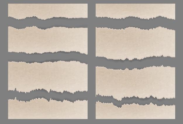 Conjunto de textura de cartón rasgado rasgado