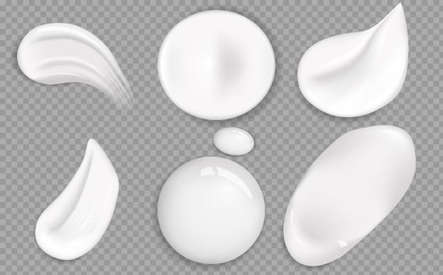 Conjunto de textura cosmética crema blanca.