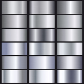 Conjunto de textura de degradados de plata.