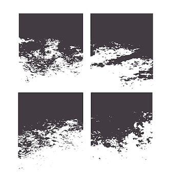 Conjunto de textura grunge sucio marco apenado