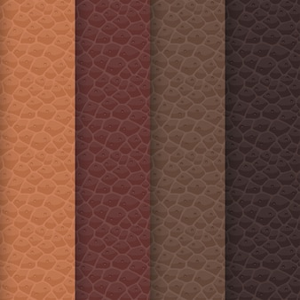 Conjunto de texturas de cuero sin costuras basadas en una paleta marrón. los tonos del patrón están alineados con los colores tradicionales de caramelo, chocolate, cacao y café. superficie de piel animal realista.
