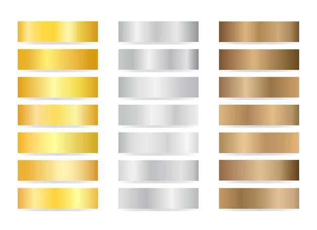 Conjunto de texturas de degradado de bronce dorado plateado.