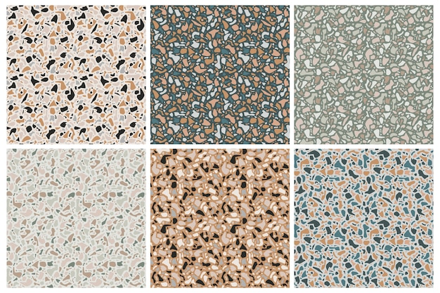 Conjunto de texturas de fondo de terrazo. patrones sin fisuras. piedra natural, vidrio, cuarzo, hormigón, mármol. clásico tipo italiano de piso. elementos de diseño de terrazo.