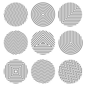 Conjunto de texturas geométricas monocromáticas en formas de círculos.