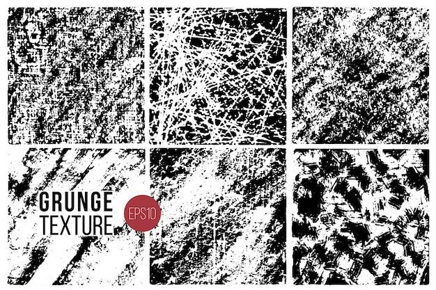 Conjunto de texturas grunge. antecedentes. superficies de grano abstracto monocromo para diseño.