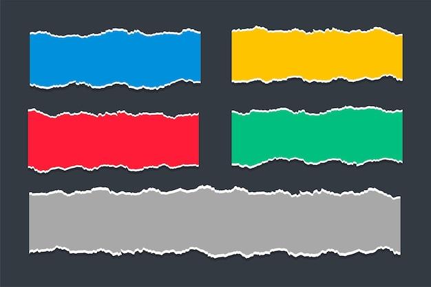 Conjunto de texturas de hoja de papel rasgado rasgado colorido