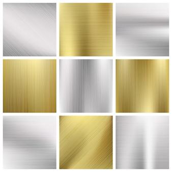Conjunto de texturas de metal vector