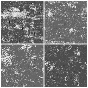 Conjunto de texturas de papel grunge, página de papeles con textura de tinta negra, patrón de cartón y texturas de fondo de páginas de decaimiento