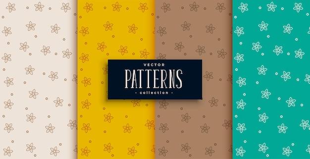 Conjunto de texturas de patrón de hojas de cuatro