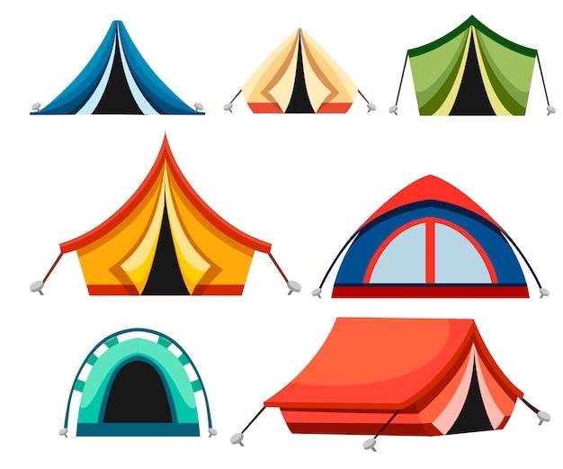 Conjunto de tienda de campaña y senderismo. carpas triangulares y abovedadas. iconos de colores. recogida de carpas para campamentos turísticos. ilustración sobre fondo blanco