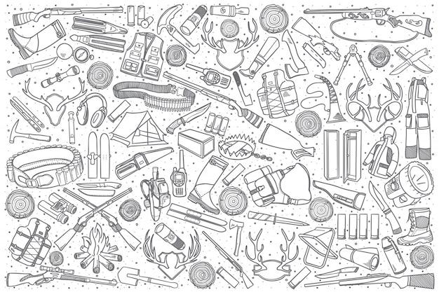 Conjunto de tienda de caza dibujado a mano