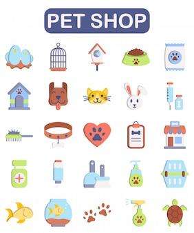 Conjunto de tienda de mascotas, estilo plano premium