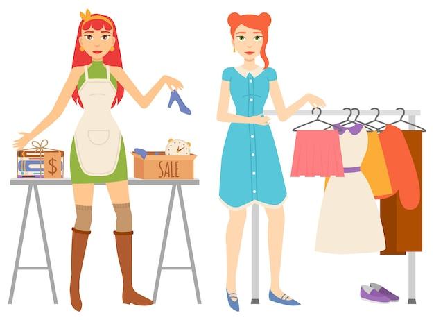 Conjunto de tienda de ropa y venta de libros