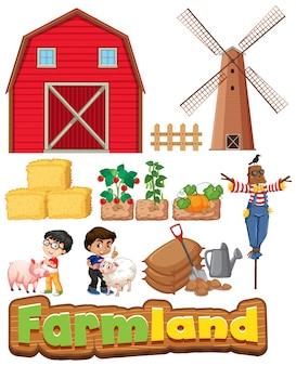Conjunto de tierras de cultivo con edificios y niños