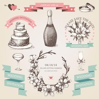Conjunto de tinta dibujado a mano ilustración de san valentín. colección de san valentín vintage con ramitas de árboles frutales florecientes dibujados a mano