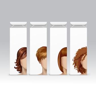 Conjunto de tinte para el cabello, tinte, champú, bálsamo, bálsamo, máscara, embalaje, paquete, paquete, caja, en el fondo