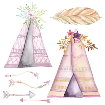 Conjunto de tipi de acuarela, flechas étnicas y flores