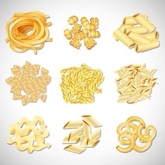 Un conjunto de tipo de pasta