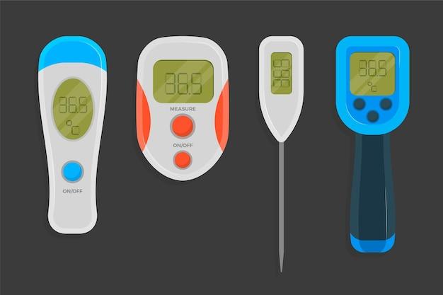 Conjunto de tipo de termómetro de diseño plano