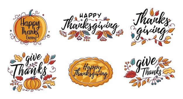 Conjunto de tipografía de acción de gracias feliz dibujada a mano en banner de corona de otoño.