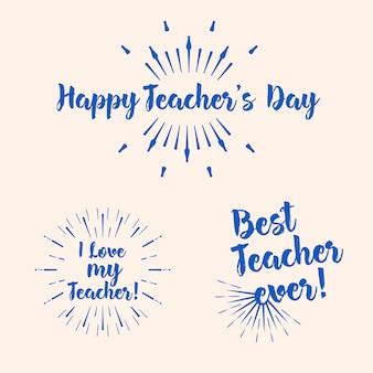 Conjunto de tipografía del día del maestro feliz. diseño de letras