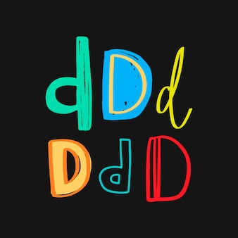 Conjunto de tipografía de doodle letra d